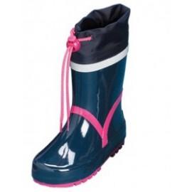 blauw regenlaars met roze acccent