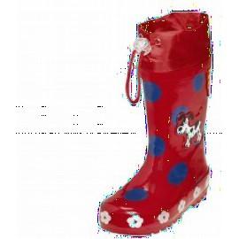 regenlaars rood met blauwe stippen