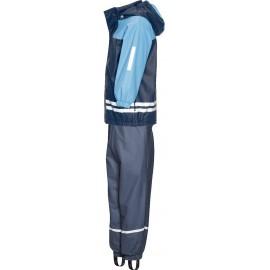 Regenpak kind gevoerd -blauw