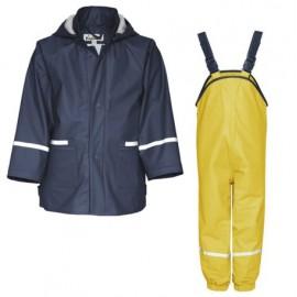 Regenpak Blauw met gele broek