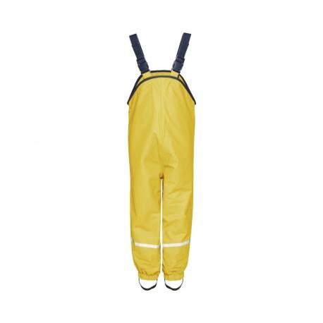 gevoerde regenbroek bretels geel